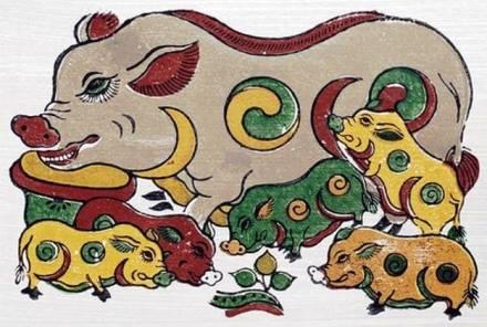 Hình ảnh con lợn trong tranh dân gian Đông Hồ. Ảnh tư liệu