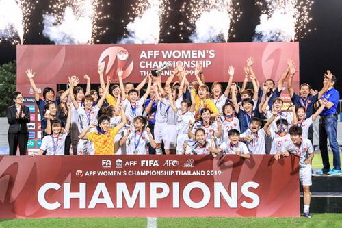 Giành ngôi vô địch bóng đá nữ Đông Nam Á 2019, Đội tuyển nữ Việt Nam được thưởng 1,33 tỷ đồng. Nguồn: VFF